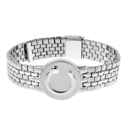 elite mens wide stainless steel metal wristband