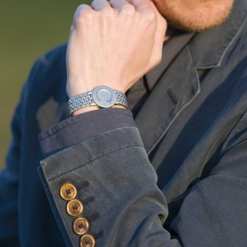 man wearing a stainless steel elite wristband