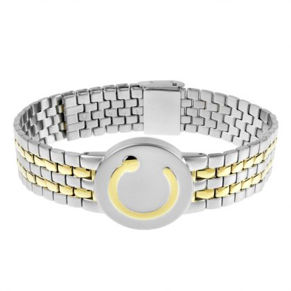 elite mens wide stainless steel and gold metal wristband