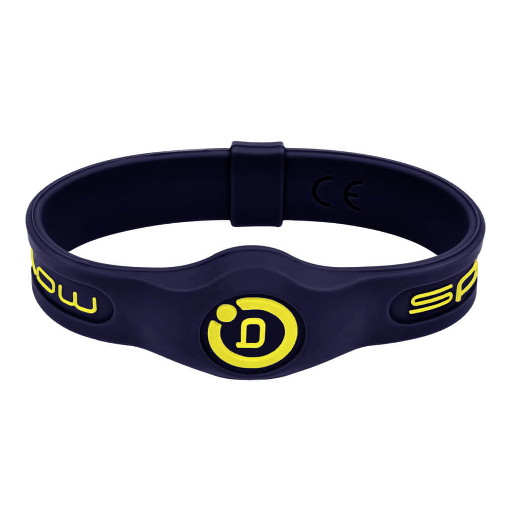 sport band in navy with yellow highlights