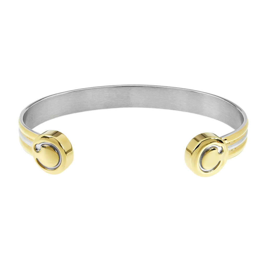 duet polished gold and stainless steel finish