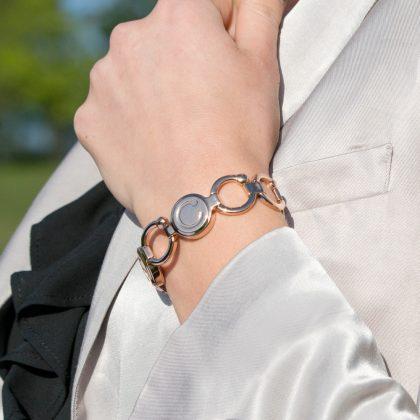 lady wearing a rose gold pirouette bracelet