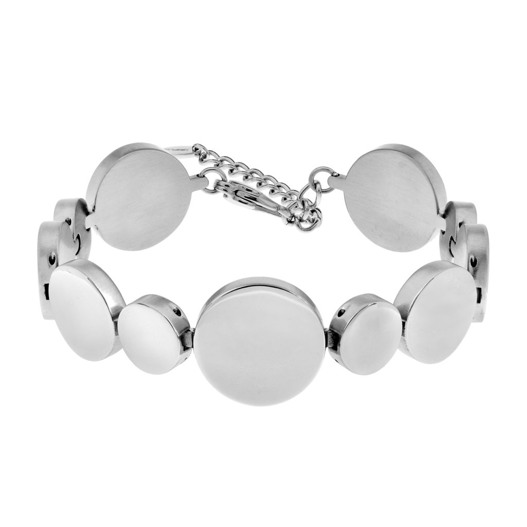 eclipse bracelet with circular polished stainless steel finish