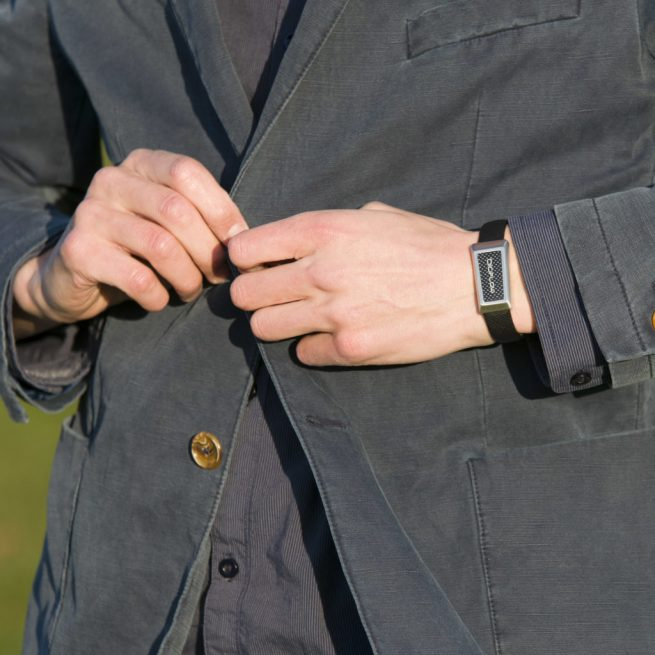 man weAring a leather strap windsor wristband