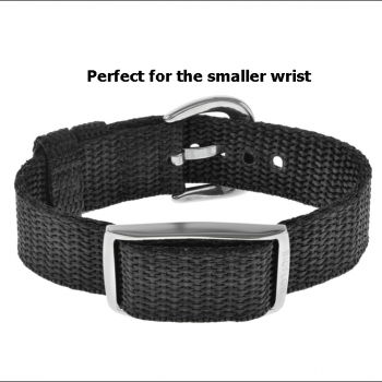 explorer wristband- black nylon canvas weave with stainless steel buckle and magnet module