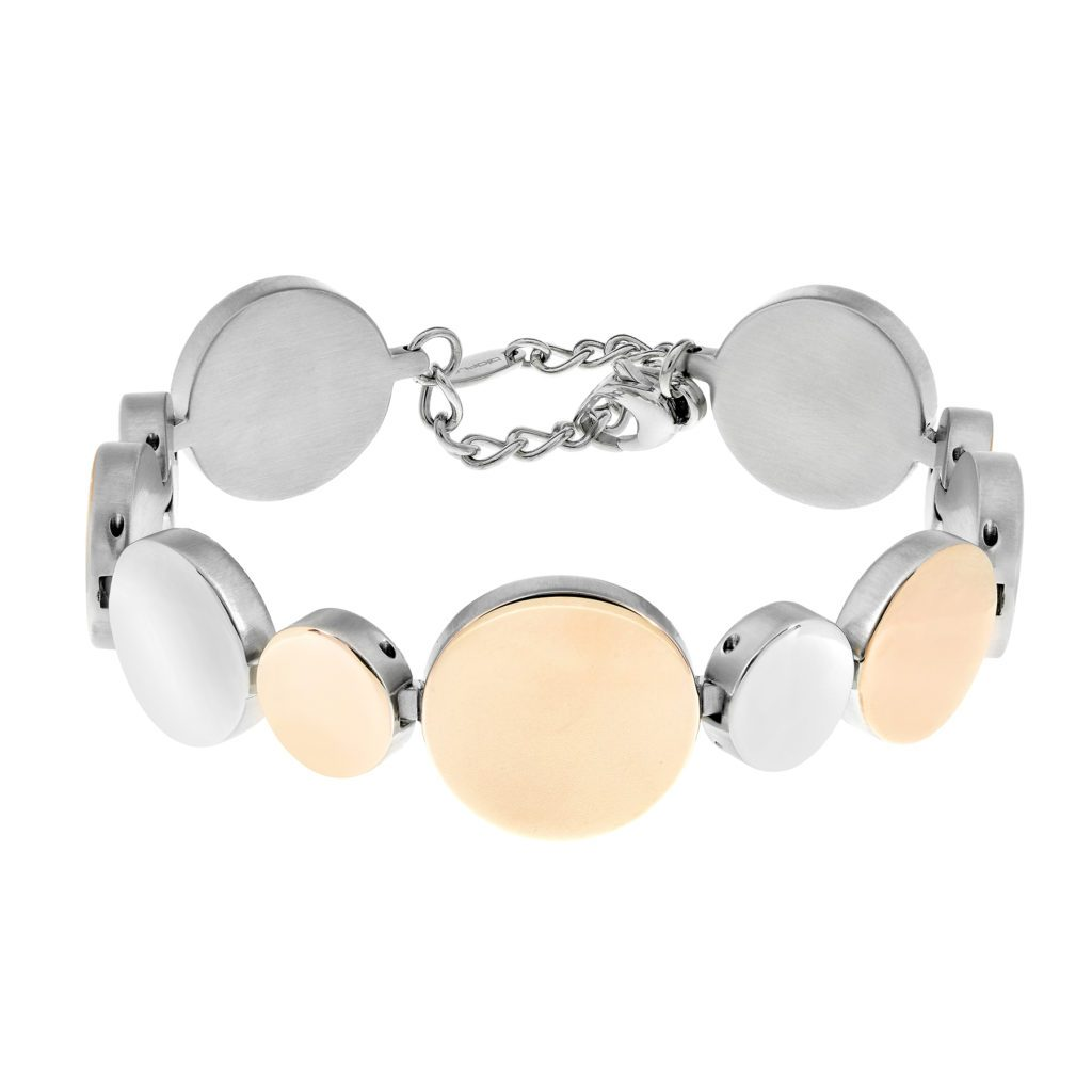 eclipse bracelet with polished stainless steel and rose gold circles