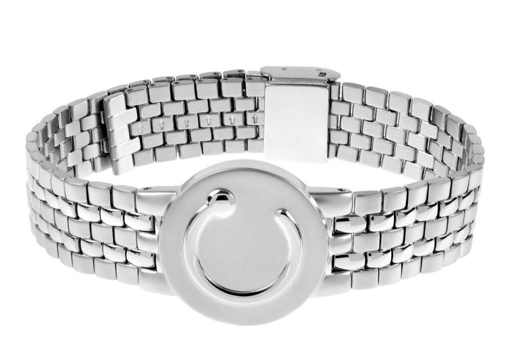 elite mens wide stainless steel metal wristband