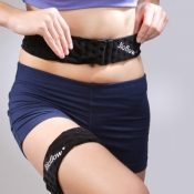 boost belts wrapped around stomach and leg